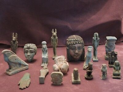 Ancient Egyptian Antiques Rare 18 Amulets BC