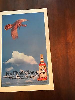 1986 VINTAGE 7.5X12.5 PRINT Ad FOR FLY FIRST CLASS WITH Wild Turkey Whiskey
