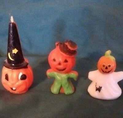 THREE VINTAGE GURLEY JACK-O-LANTERN WITCH HAT, SCARECROW in green, GHOST CANDLES