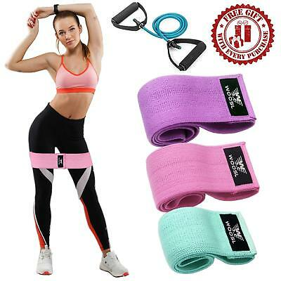 WOOSL Resistance Bands Loop Exercise Booty Workout Hip Wide Fo GREEN PINK PURPLE