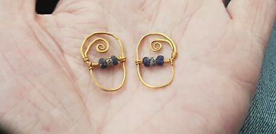Roman  Gold Hoop Earrings with Beads 2nd century AD