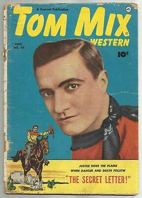 TOM MIX WESTERN #45 (Tom Mix Photo Cover, Tumbleweed Jr. Back-Up) Fawcett, 1951