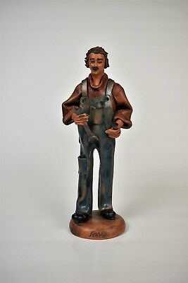 Terracotta Clay Mechanic Technician Figurine Statue | Falvo Rogliano Italy