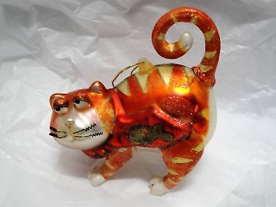 Large & Heavy Glittered Tabby Cat Mercury Glass Christmas Ornament-Fish On Belly