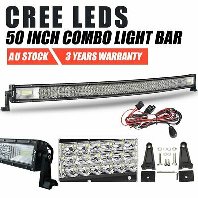 "50inch Curved CREE LED Work Light Bar SPOT FLOOD Driving 4WD SUV 52"" w/ Wiring"