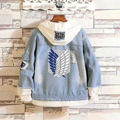 Anime Attack on Titan Hoodies Jean Jacket Coat Casual Hooded Clothes Outerwear