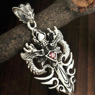 Real 925 Sterling Silver Pendant Dragon Cross Knightly Sword Garnet Inlay