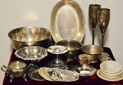 Lot of 21 Vintage Silver Plated Items Oneida, Gorham, International, Sheridan
