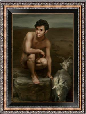 "Hand-painted original Oil painting art gay Chinese male nude on canvas 24""x36"""