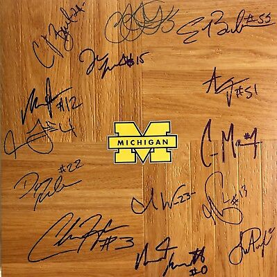 68552b0de4b 2017-18 MICHIGAN WOLVERINES TEAM SIGNED AUTOGRAPHED FLOORBOARD w COA FINAL  FOUR