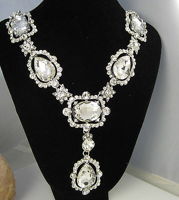 Vintage Huge Signed Oscar De La Renta Bright White Sparkling Statement Necklace