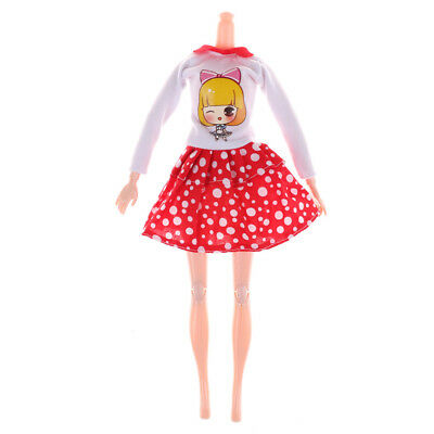 Fashion Handmade  Doll White Dots Skirt Doll Princess Party Dress Clot SP