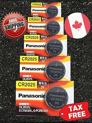 5X Panasonic CR2025, BR2025, DL2025, 3V Lithium Watch Battery. EXP 2024 TAX FREE