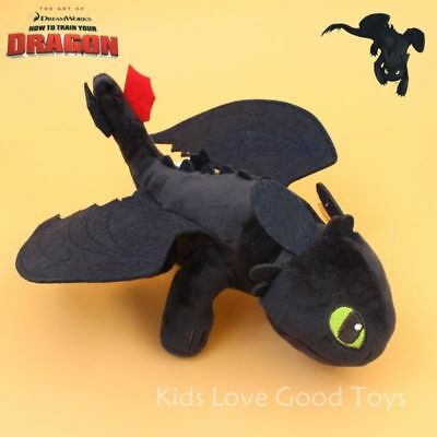 TOOTHLESS How To Train Your Dragon Night Fury Plush Toy Stuffed Animal Doll 10""