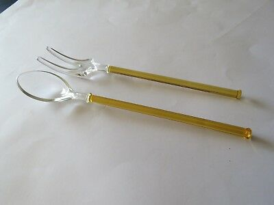 Amber  Handled Depression Glass Spoon & Fork