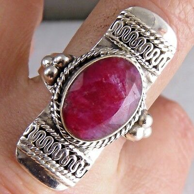 Gemstone Vintage Size US 9.5 SILVERSARI Ring 925 Stg Silver & INDIAN RUBY
