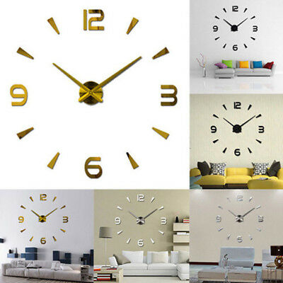 Large Wall Clock 3D Watch Decal Sticker Roman Numeral DIY Home Living Room Decor