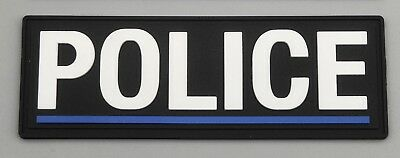 Thin Blue Line Police Black PVC / Rubber Patch, Police, Hook Rear, 1 X Patch