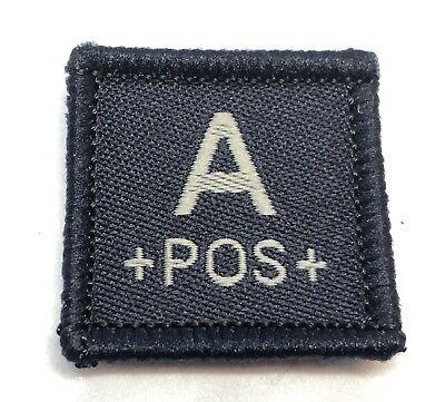 Blood Group Woven Dark Blue Patch #1, LBV, Police & Emergency Workers, Hook Rear