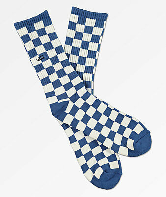 7daf9ee44edbf0 NEW Vans Checkerboard Blue White Crew Socks - One Size Fits Men s Shoes 9.5-
