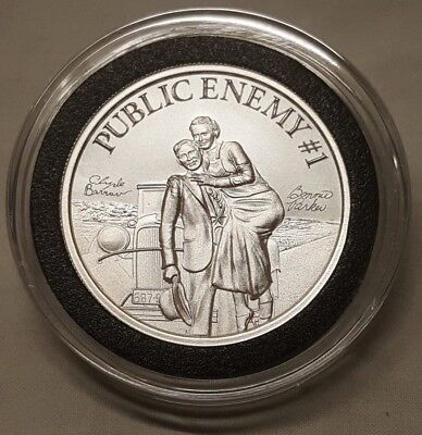 2oz  Bonnie & Clyde Public Enemy #1 Silver Round Southern Bank Robbers Ford V8