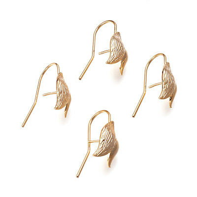 4 Pairs Gold Plated Leaf Earring Hooks Bumpy w/ Back Pin French Earwire 23x10mm