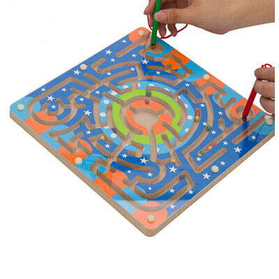 -NEW- Wooden Magnetic Maze Educational Development Toys