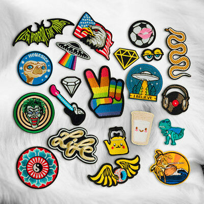 Embroidery Sew Iron On Patch Badge Transfer Fabric Bag Hat Jeans Applique Craft