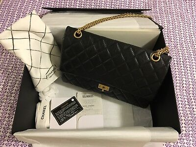 fbb0ba0447ff Authentic CHANEL Classic Double Flap Black Aged Calfskin 2.55 Reissue 226