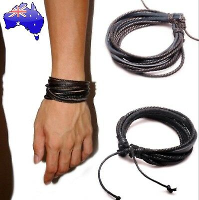 Real Genuine Leather Multi-Layer Wrap Bracelet Black Surf Men Women Teen Gift