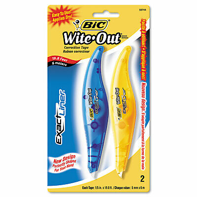 "Wite-Out Exact Liner Correction Tape, 1/5"" x 236"", Blue/Orange, 2/Pack"
