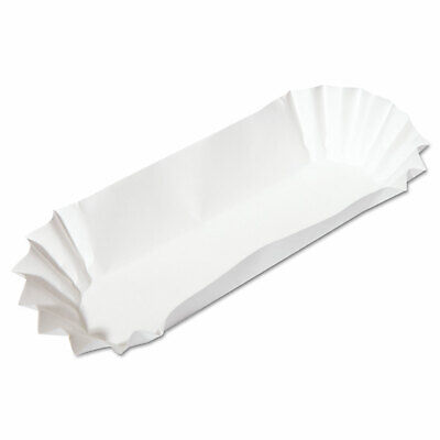 Fluted Hot Dog Trays, 6w x 2d x 2h, White, 500/Sleeve, 6 Sleeves/Carton