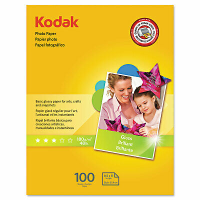 Photo Paper, 6.5 mil, 8.5 x 11, Glossy White, 100/Pack
