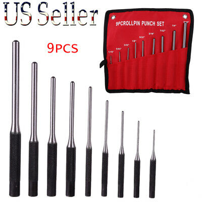 9pcs/ set Forged Steel Roll Pin Pilot Punch Tools with Case Rifle Gunsmithing US
