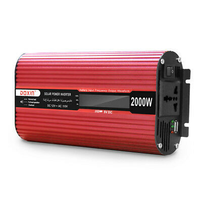 2000W Car Power Inverter 12V dc to 110V ac Pure Sine Wave Inverter with USB Port