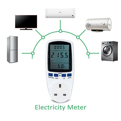 UK Plug-in Electricity Power Consumption Meter Energy Monitor Watt Kwh Analyzer