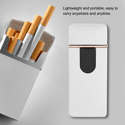 USB Electric Flameless Lighter Torch Rechargeable Windproof Xmas Gift Silver NEW