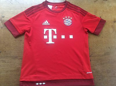 BAYERN MUNICH RED HOME FOOTBALL SHIRT ADIDAS BOYS AGE 13-14 YEARS Munchen