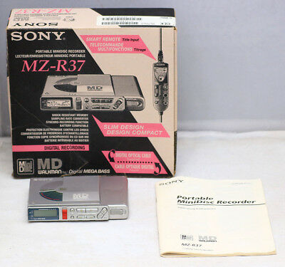 Vintage SONY MZ-R37 MiniDisc Player Recorder Tested, PERFECT