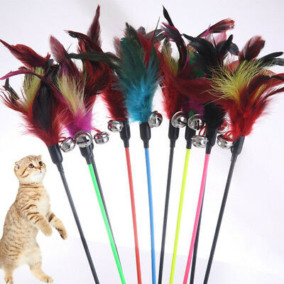 1PC Cat Wand Stick Feather Cat Interactive Toy With Small Bell Random Color