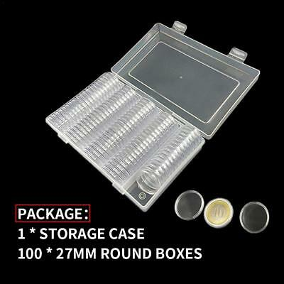 100Pcs Clear Round Plastic Coin Capsule + Transparent 27mm Container Storage Box