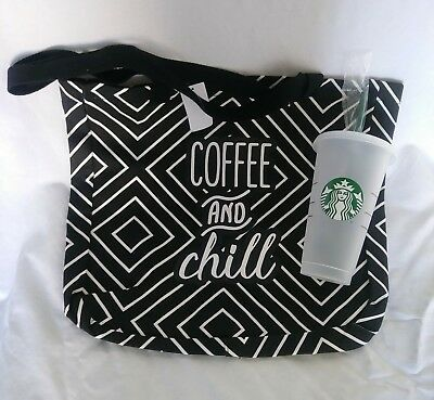 """""""Coffee & chill"""" tote bag + STARBUCKS Reusable cup Venti 24 OZ Frosted clear"""