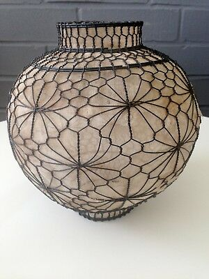 OLD Hand Crafted Floral Geometric Wire & Gauze Lamp Shade Ceiling Pendant Globe