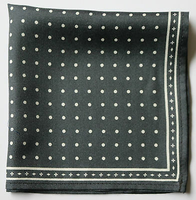 Grey & white spots hand printed silk pocket square 30cm.