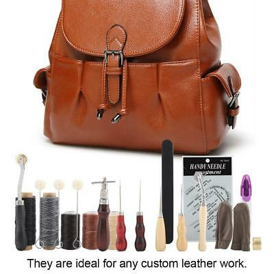 18Tlg Leder Werkzeug Leather Craft Hand Sewing Stitching Groover Tool Kit Set