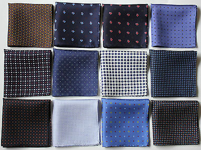 Hand printed Silk pocket square Handkerchiefs 30cm. Assorted colours & patterns