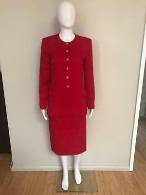 Vintage Dolina Exclusive Classic Red Jacket Skirt Suit Size 8