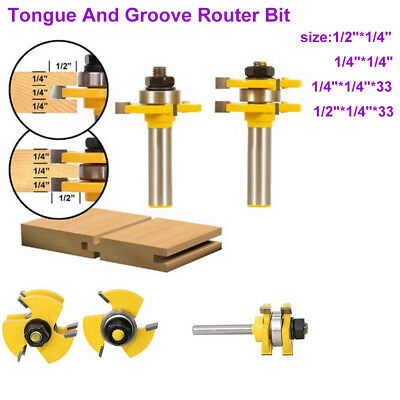 "2x 1/4"" 1/2"" Shank Tongue and Groove Router Bit Woodworking Tenon Milling Cutter"