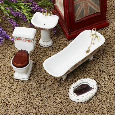 1/12 Dollhouse Miniature Bathroom Furniture Floral Bathtub Toilet Set 4Piece