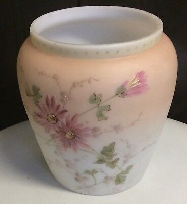 Antique Hand Blown Frosted Glass Vase Hand Painted Pink White Flowers Beautiful